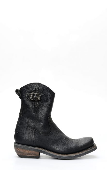 Liberty Black biker boot with zipper and square toe
