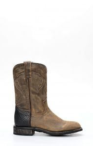 Aged leather work boots