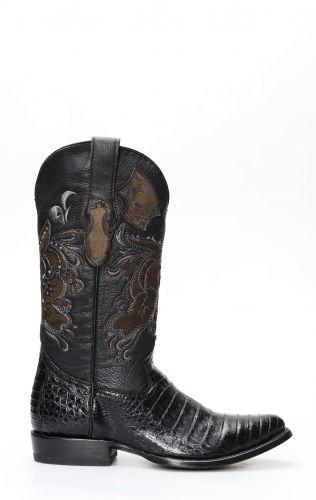 Stivali Texani Cuadra in coccodrillo nero