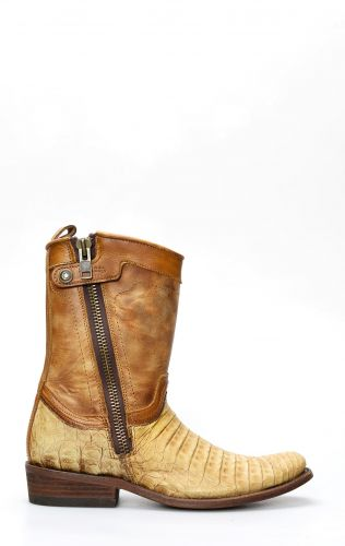 Cuadra ankle boot in light brown crocodile leather
