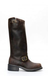 Bottes Walker en cuir huilé marron avec jambe haute
