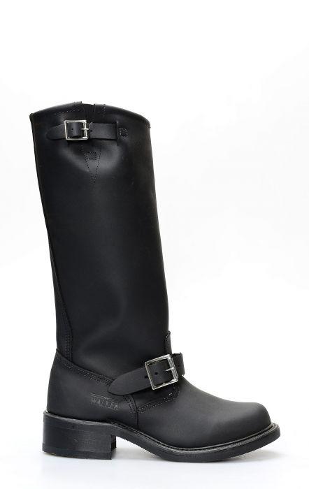 Stivali Walker in pelle ingrassata nera con gambale alto