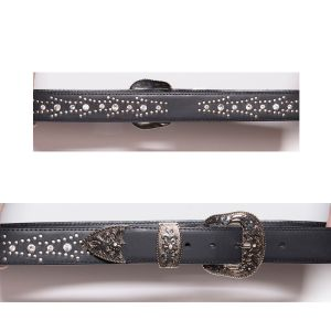 Cintura nera con swarovsky e set fibbia 3 pezzi