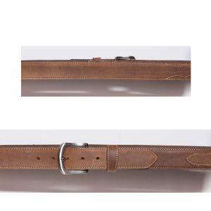 Cintura color miele con cucitura e bordatura a contrasto