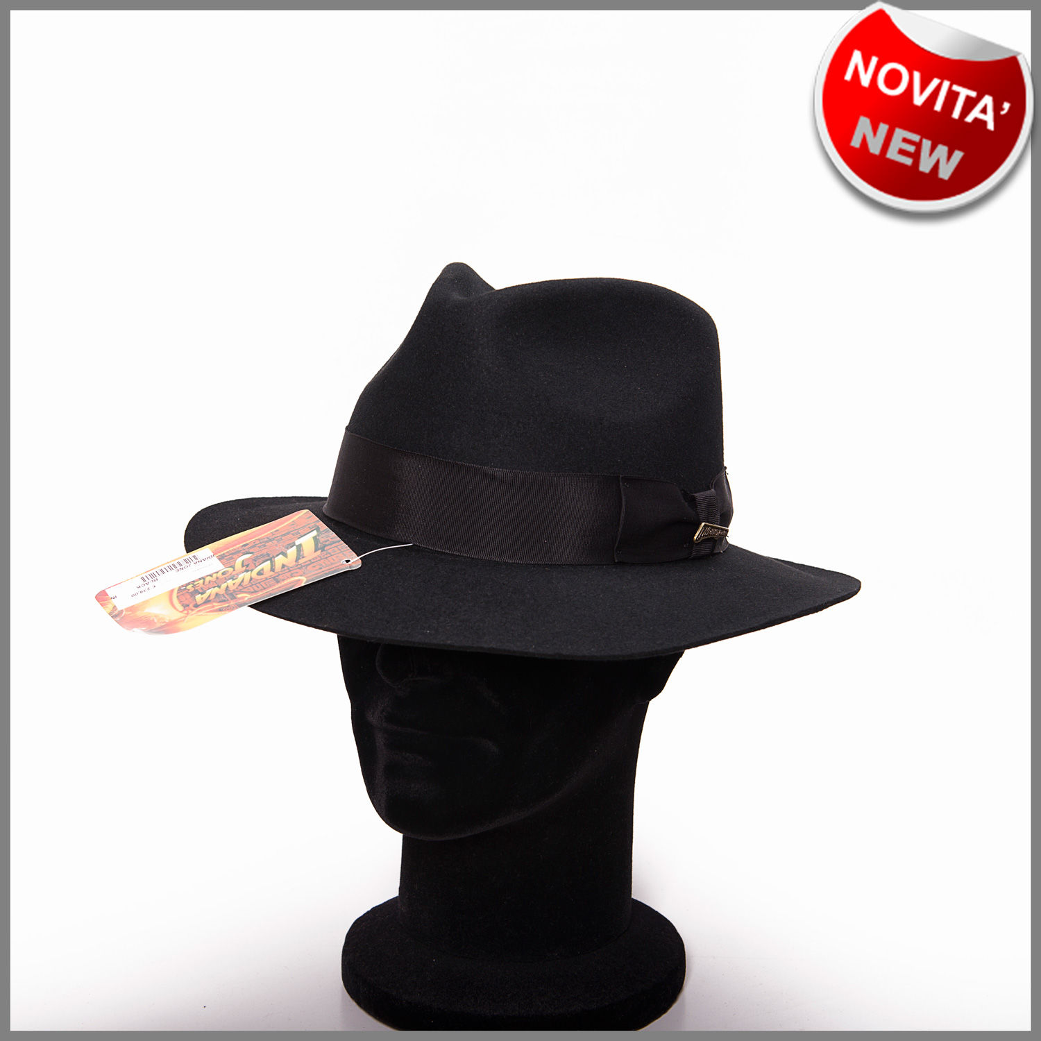 Cappello indiana jones originale nero in puro feltro 8a4719b3190d