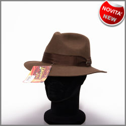 Cappello indiana jones originale marrone in puro feltro