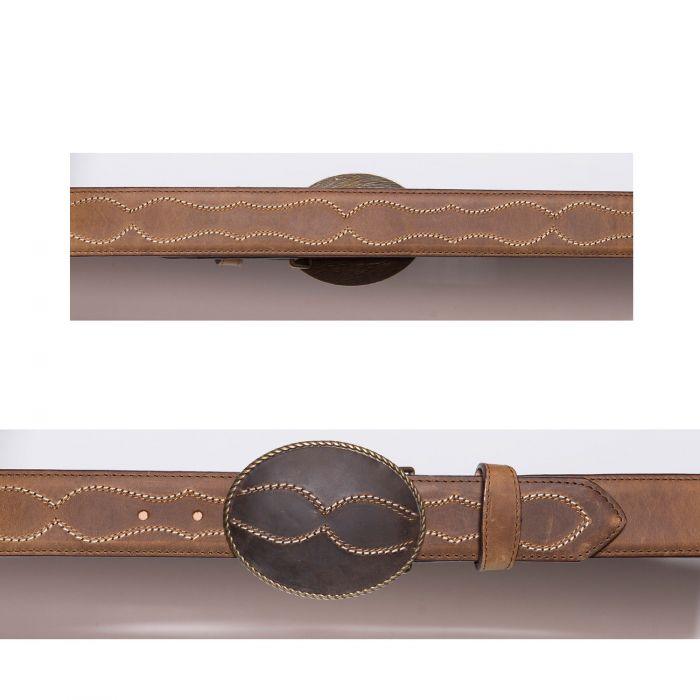 Honey-colored belt with buckle