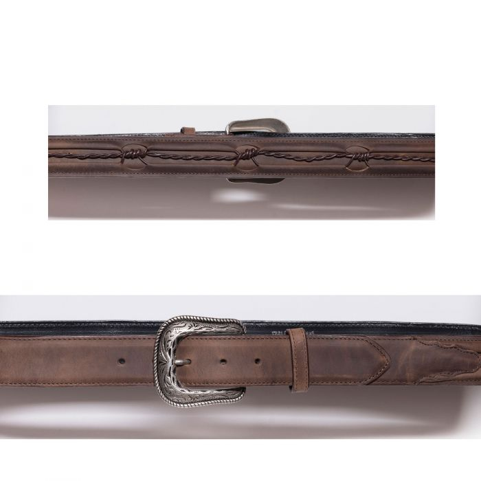 Cintura marrone con ricamo a filo spinato