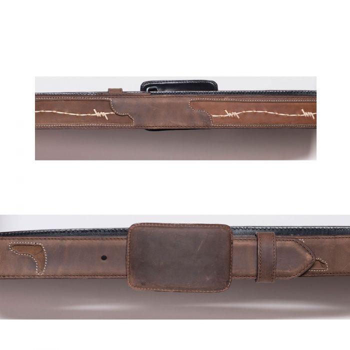 Ceinture marron avec incrustation de fil de fer barbelé