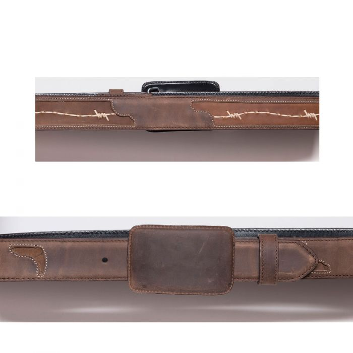 Cintura marrone con intarsio a filo spinato