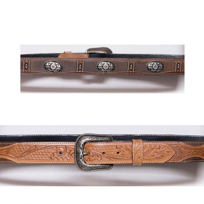 Cintura color miele con conchos e inserti