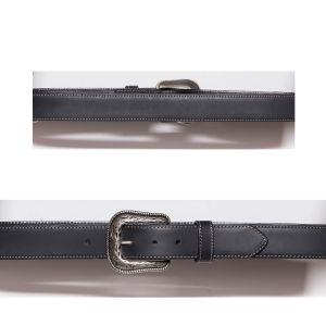 Cintura nera con bordatura e cucitura a contrasto