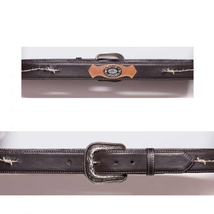 Cintura marrone con ricamo a filo spinato e conchos
