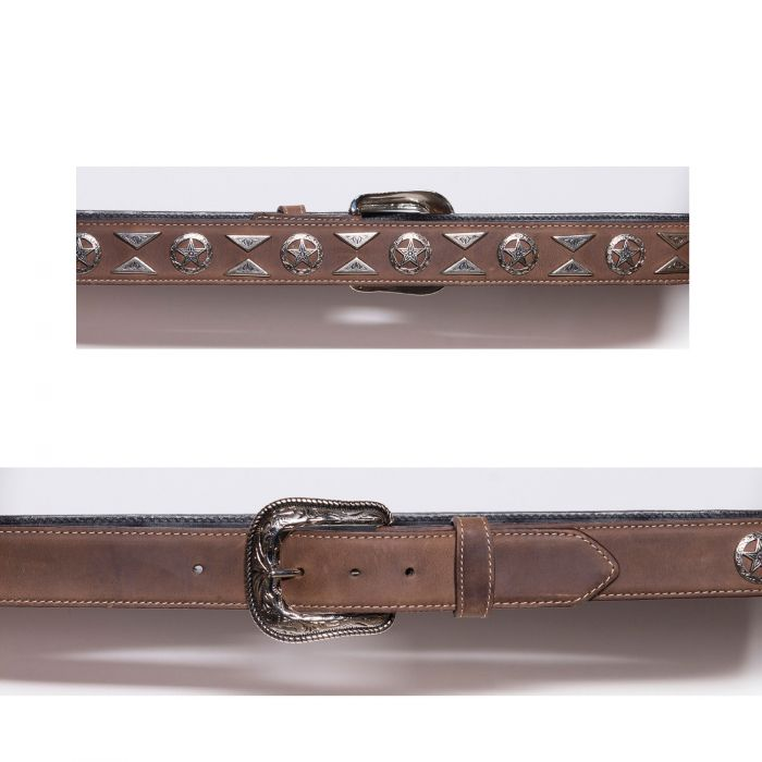 Brown belt with conchos and studs