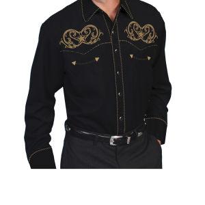 Camicia western by Scully nera con ricamo a contrasto con stella