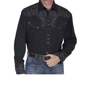 Camicia western by Scully nera con ricamo grigio