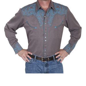 Camicia western by Scully grigia con ricamo azzurro
