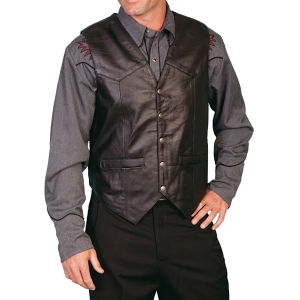 Black leather vest by Scully