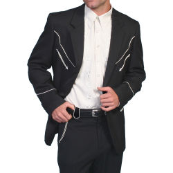 Black Scully western jacket with white embroidery