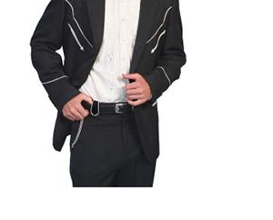 Veste western Scully noire avec broderie blanche