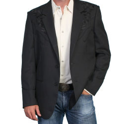 Black Scully western jacket with matching floral embroidery