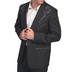 Veste western Scully noire avec broderies florales grises