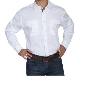 Classic white Scully shirt with snap buttons