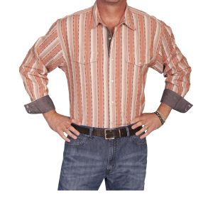 Scully western shirt in light cotton with orange base stripes