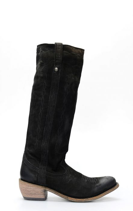 Black Liberty boots in black nubuck leather