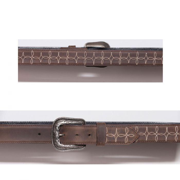 Cintura marrone con ricamo a contrasto