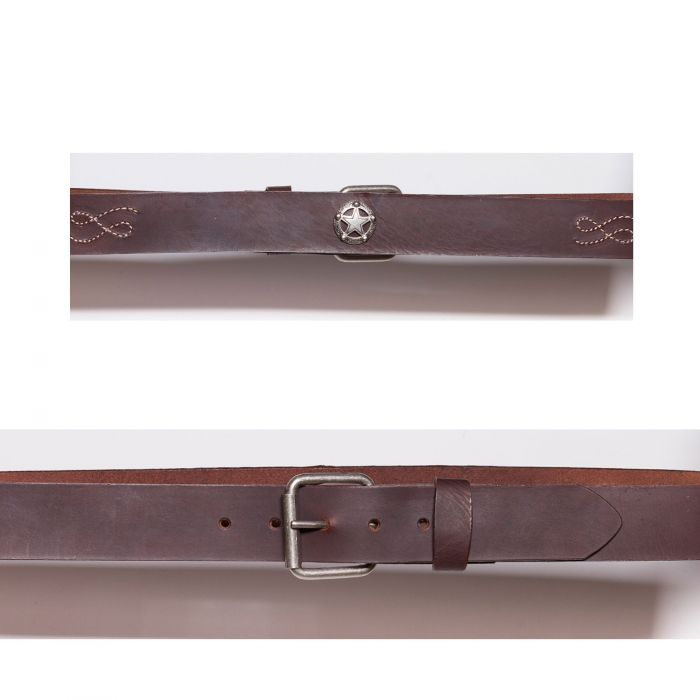 Cintura marrone con conchos e ricami