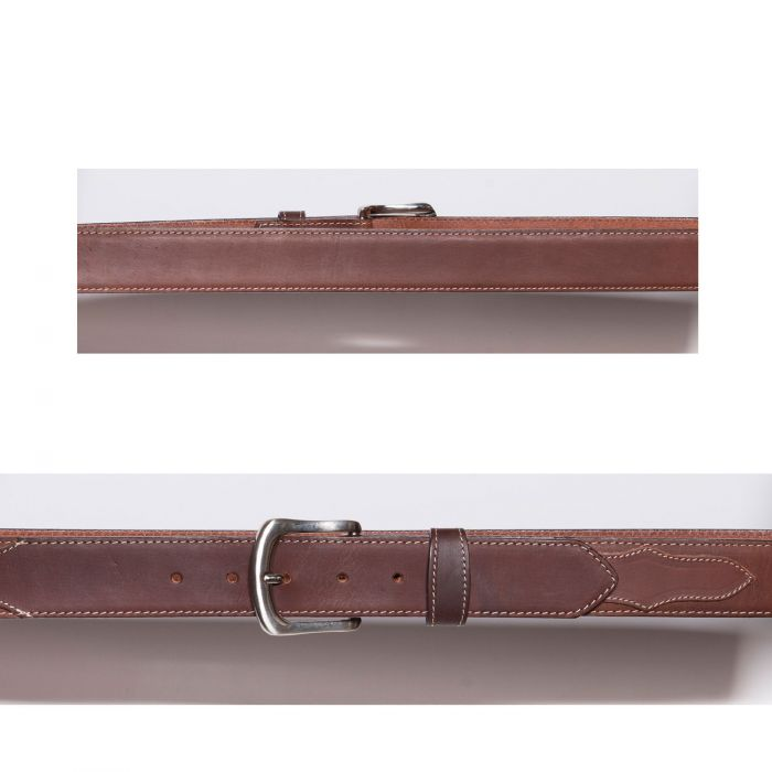 Brown belt with contrast stitching