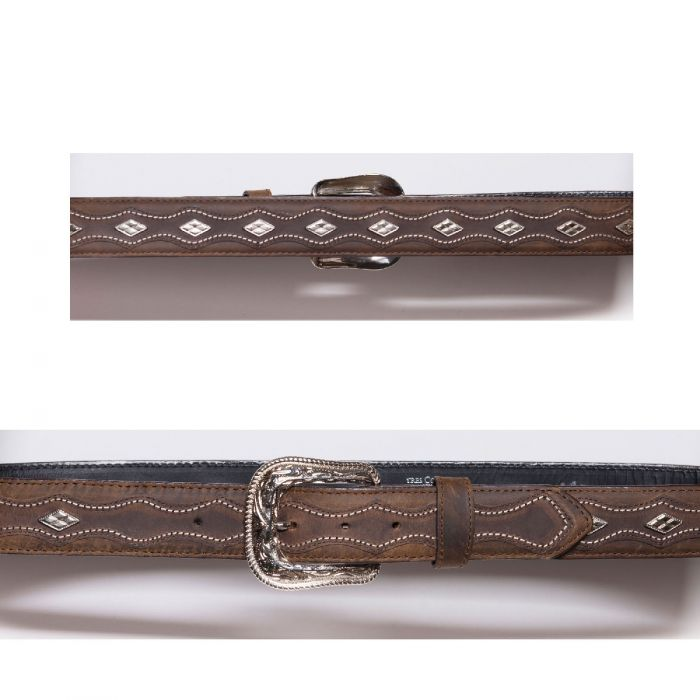 Brown belt with conchos