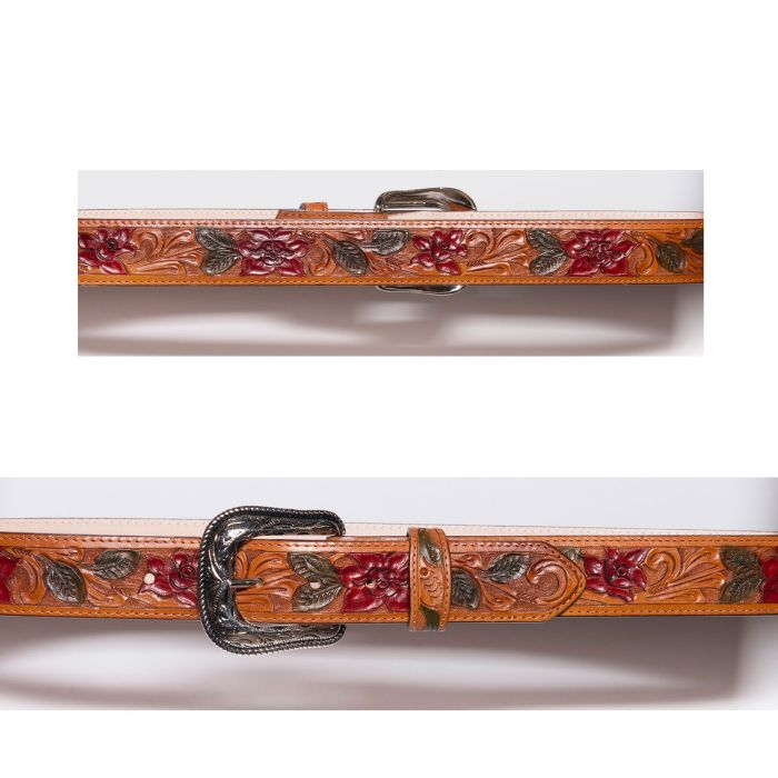 Honey-colored belt with floral inlay
