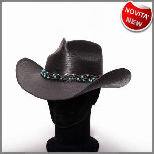 Chapeau noir pincé devant