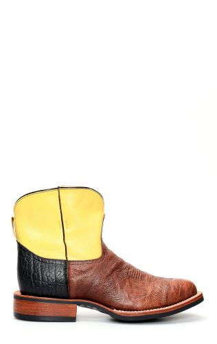Short Jalisco work boots in brown bison leather