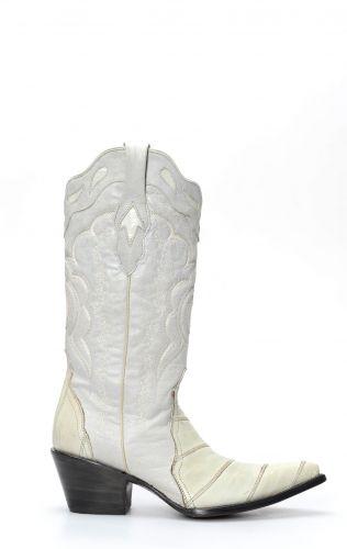 Stivali Texani Cuadra in pelle di anguilla bianchi