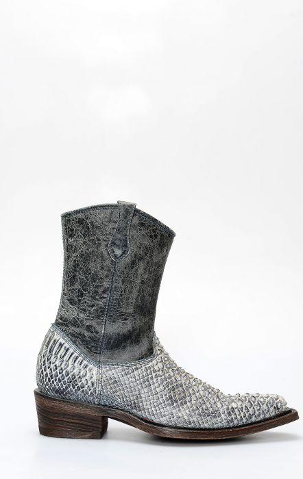 Cuadra bottines en cuir de python bleu clair