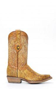 Stivali Cuadra in pelle di gamba di struzzo colore giallo sfumato