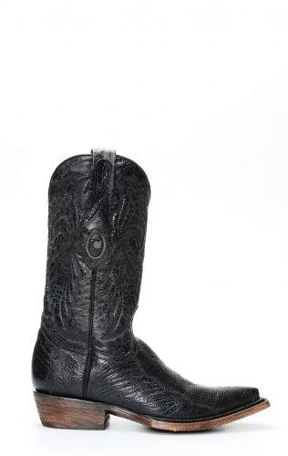 Cuadra Boots en cuir de jambe d'autruche de couleur noir brillant