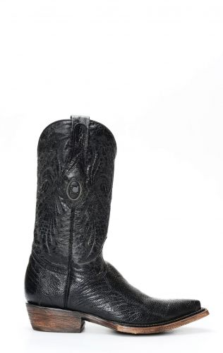 Cuadra boots in ostrich leg leather in glossy black color
