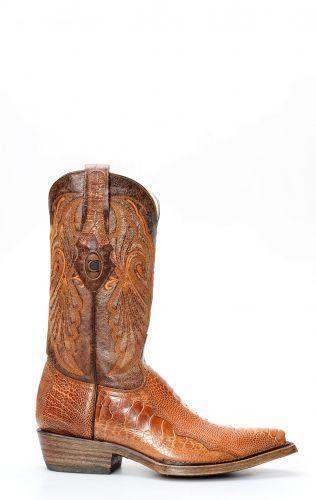 Stivali Texani Cuadra in pelle di gamba di struzzo colore miele