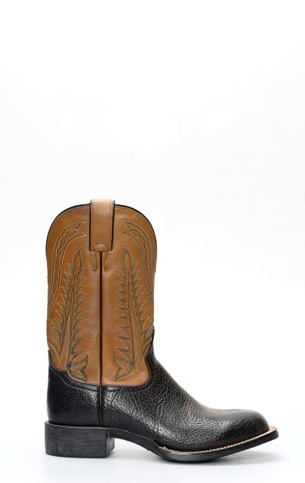 Black Tony Lama boot in bull neck leather