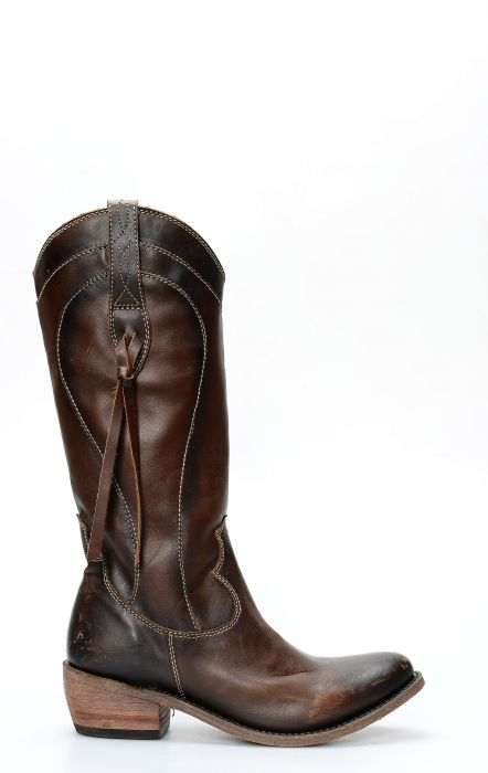 Dark brown Liberty Black boots with high round toe