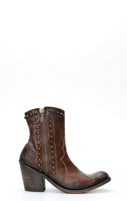 Liberty Black dark brown ankle boot with zipper and studs