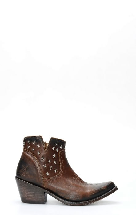 Liberty Black dark brown ankle boot with star studs