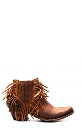 Liberty Black dark brown ankle boot with fringe