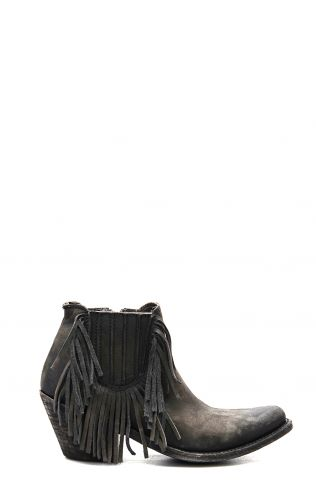 Black Liberty ankle boot with fringe