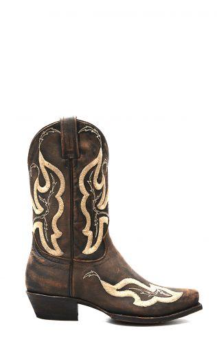 Stivali Texani Caborca color marrone con ricami