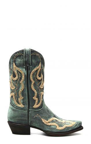 Stivali Texani Caborca color turchese invecchiato con ricami